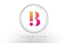 Artistic B Letter Logo Design With Creative Circular Wire Frame Around It