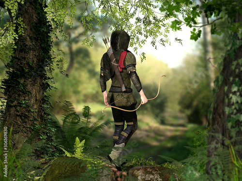Canvastavla A hooded hunter with bow and arrows walks through a forest