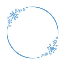 Shiny Snowflake Circle Frame For Christmas And New Year Party Greeting Card Decor. Isolated Vector Symbol
