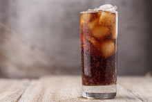 Cola With Ice Cubes. Glass Of ...