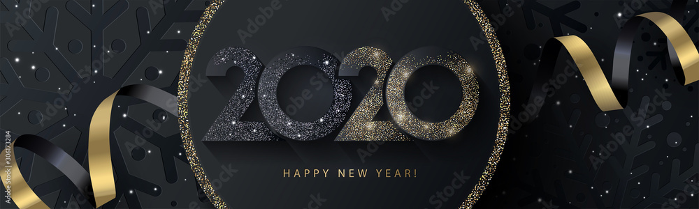 Fototapeta Happy New Year 2020 beautiful sparkling design of numbers on black background with texture of black snowflakes and shining falling snow. Trendy modern  winter banner, poster or greeting card template