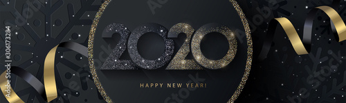 Fototapeta Happy New Year 2020 beautiful sparkling design of numbers on black background with texture of black snowflakes and shining falling snow. Trendy modern  winter banner, poster or greeting card template obraz