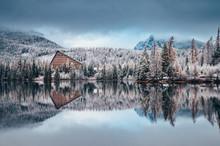 First Snow At Strbske Pleso, Slovakia. Winter Nature, Christmas Scenery