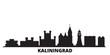 Russia, Kaliningrad city skyline isolated vector illustration. Russia, Kaliningrad travel cityscape with landmarks