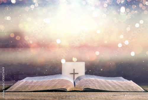 Spoed Foto op Canvas Europa Open Holy bible book on abstract background