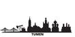 Russia, Tumen city skyline isolated vector illustration. Russia, Tumen travel cityscape with landmarks
