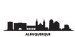 United States, Albuquerque city skyline isolated vector illustration. United States, Albuquerque travel cityscape with landmarks