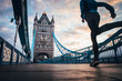 running in London Concept photo. Man running on Tower bridge. London Marathon photo