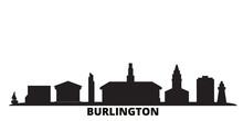 United States, Burlington City Skyline Isolated Vector Illustration. United States, Burlington Travel Cityscape With Landmarks