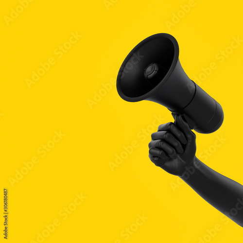Black hand holding Megaphone on yellow background Canvas Print