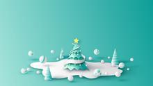 Christmas Tree On Snow Pile De...
