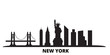 United States, New York city skyline isolated vector illustration. United States, New York travel cityscape with landmarks