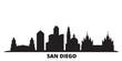 United States, San Diego city skyline isolated vector illustration. United States, San Diego travel cityscape with landmarks