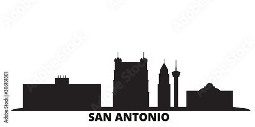 United States, San Antonio city skyline isolated vector illustration Wallpaper Mural