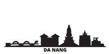 Vietnam, Da Nang City Skyline Isolated Vector Illustration. Vietnam, Da Nang Travel Cityscape With Landmarks