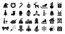 Christmas Icon Set (Flat Silhouette Version)