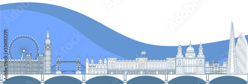 Panorama of London flat style vector illustration Canvas Print