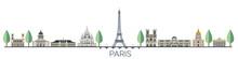 Panorama Of Paris Flat Style Vector Illustration. Cartoon Paris Architecture Symbols And Objects. Paris City Skyline Vector Background. Flat Trendy Illustration