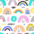 Childish seamless pattern with hand drawn rainbows and different shapes. Creative kids texture for fabric, wrapping, textile, wallpaper, apparel. Vector illustration.