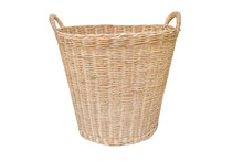 Empty Wooden Wicker Basket Isolated On White Background With Clipping Path