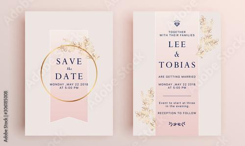 Leinwand Poster Beautiful set of wedding card templates