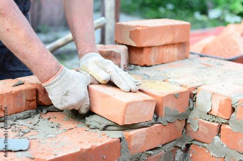 Photo Bricklaying house wall,  masonry