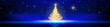 Leinwanddruck Bild - Christmas tree with lights isolated on blue star sky background.