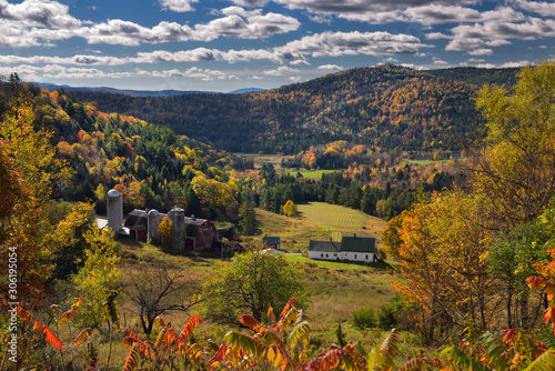 Hillside Acres farm valley fields Barnet Center Vermont with Fall colors and And Wallpaper Mural