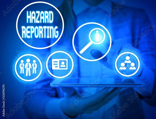 Papel de parede Writing note showing Hazard Reporting
