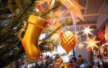 Gold Hanging Boot (or Sock) Christmas Tree Ornament For Christmas Present