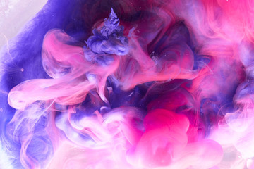 Abstract multicolored swirling fume background. Pink, purple and blue hookah ...