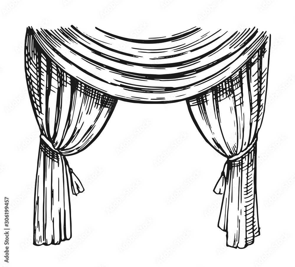 Fototapeta Curtain sketch. Outline with transparent background. Hand drawn illustration converted to vector
