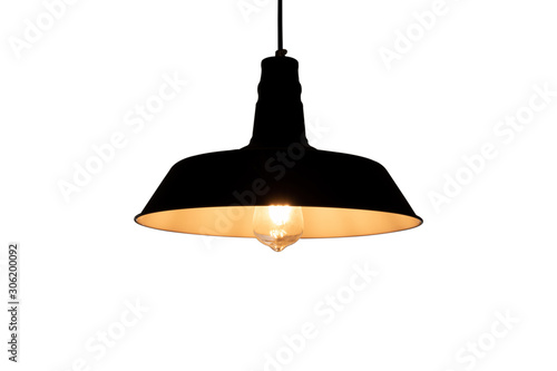 Black hanging lamp with warm light isolated with white background Wallpaper Mural