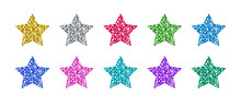 Glitter Star Set In Differently Colors