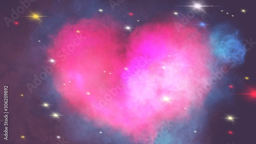 Heart shape nebula with starry in a universe, Valentine's day concept