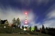 ZAKOPANE, POLAND - NOVEMBER 03, 2019: Night view of The Zakopane-Gubalowka transmitter (Polish: RTON Gubalowka ). Is located atop the Gubalowka mountain, popular tourist attraction, Poland, Europe.