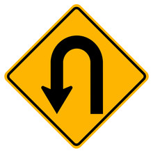 U-Turn Left Traffic Road Sign,Vector Illustration, Isolate On White Background Label. EPS10