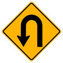 U-Turn Left Traffic Road Sign,...