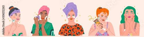 Fototapeta Beauty routine. Beautiful young ladies. Various spa procedures. Face care concept. Cleansing, moisturizing, treating. Hand drawn vector set. Trendy illustration. All elements are isolated obraz