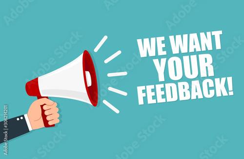 Cuadros en Lienzo  We want your feedback. Loudspeaker. Vector illustration.