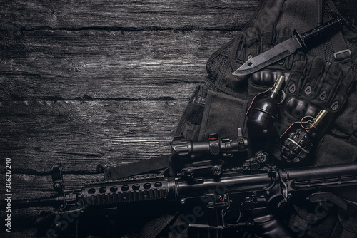 Military equipment or special agent gear concept flat lay background with copy space Fototapeta