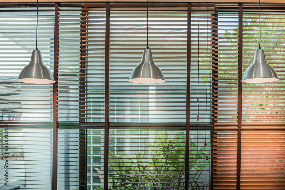 Venetian blind window mask, room interior with ceiling lamp beam, blinds window decoration concept for banner or background. <span>plik: #306217458 | autor: May_Chanikran</span>