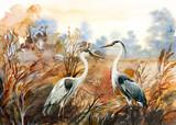 autumn landscape with birds  crane, watercolor illustration - 306217460