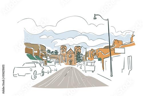Fototapeta premium Santa Fe Nowy Meksyk USA Ameryka szkic wektor ilustracja miasto grafika liniowa