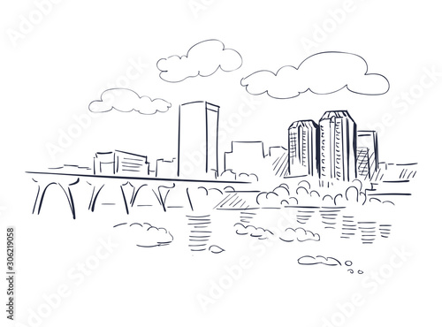 Fotomural Richmond Virginia usa America vector sketch city illustration line art