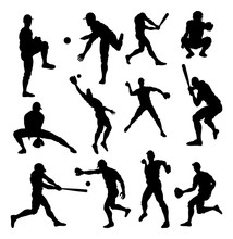 Baseball Player Detailed Silho...