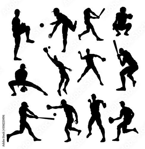 Photo  Baseball player detailed silhouettes sports set in lots of different poses