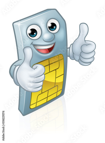 A mobile phone sim card cartoon character mascot giving a double thumbs up Canvas Print