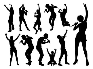 A set of high quality silhouette singer pop, country music, rock stars and hiphop rapper artist vocalists