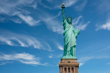 New York City, The Statue Of Liberty On A Clear Sunny Day.